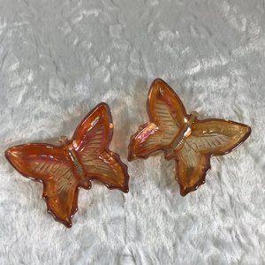 Vintage Jeanette Amber Carnival Glass Butterflies